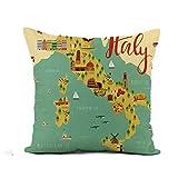 Almohadones Toscana Mapa De Italia Animales Y Lugares De Interés Comida Italiana Suave Cojine Funda Súper Funda Cojín Diseño Pillow Case para Sala Hogar Dormitorio Coche