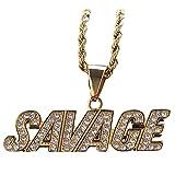 Hip Hop Acero InoxidableBárbaroColgante De Diamantes De Imitación Acero Inoxidable Preservación Del Color Collar A Juego De Tendencia De Galvanoplastia