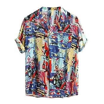 Mens Casual Ethnic Short Sleeve Cotton Linen Printing Hawaiian Tee Top Shirt Blouse