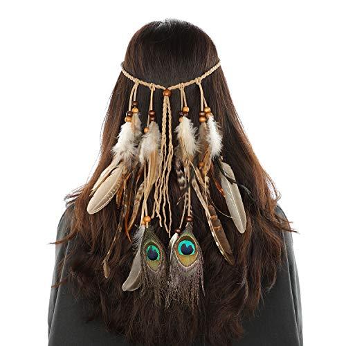 MWOOT Damen Pfauenfeder Stirnbänder Hippie Haarband Haarschmuck, Indisch Kopfschmuck Feder Quasten Gürtel Seil Stirnband für Frauen Festival Karneval