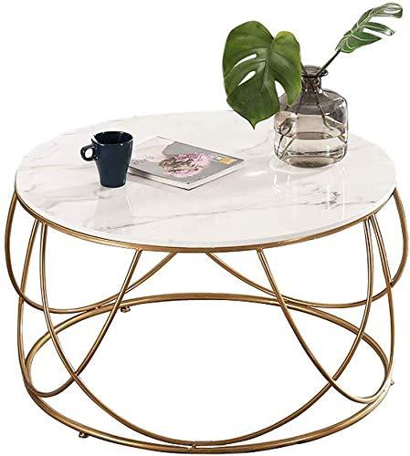 Woonkamer round salontafel Tables Coffee Table Marble, Ronde theetafel, smeedijzer Elegant Gouden Kader Ontwerp, het Living Room Appartement Couch Desk Moderne woonkamer ronde tafel