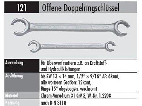 ELORA 121024271000 121-24X27MM OFFENER RINGSCHLÜSSEL, Made in Germany, 24 x 27 mm