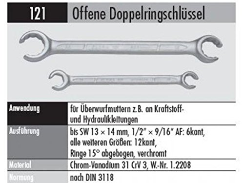 ELORA 121024271000 121-24X27MM OFFENER RINGSCHLÜSSEL, Made in Germany, 24 x 27 mm