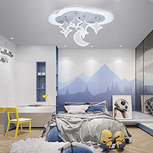 30W LED Deckenleuchte Sterne Mond Wolke Kinder Deckenlampe Mädchen Junge Schlafzimmer Deko Decke Lampe Dimmbar mit Fernbedienung Metall Acryl-Schirm Kinderzimmerlampe, L53cm×B30cm Weiß