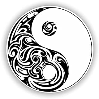 3 Pack - Ying and Yang Vinyl Stickers - Sticker Graphic - Construction Toolbox, Hardhat, Lunchbox, Helmet, Mechanic, Luggage