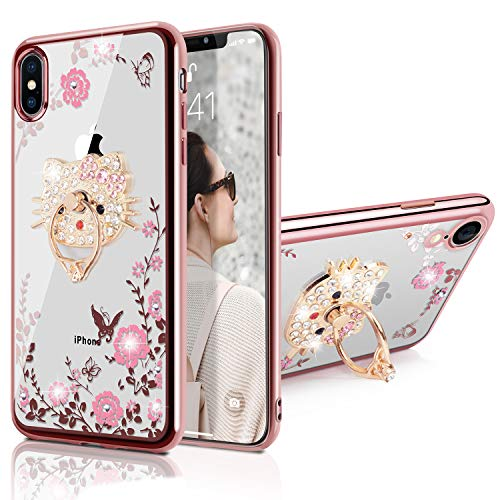 WATACHE Custodia iPhone XS Max, Glitter Scintilla Diamond Floral Butterfly Crystal Custodia Protettiva in TPU con Bling Cut Kitty Cat Shape Grip Stand per iPhone XS Max(Oro Rosa)