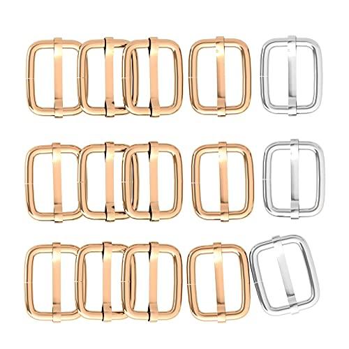 30 Pcs1 Inch 25mm Metal Rectangle Adjuster Triglides Slides Buckle, Roller Pin Buckles Slider Strap Adjuster for Belt Bags DIY Accessories (silver)