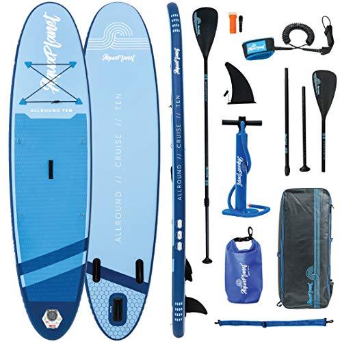 AQUAPLANET ALLROUND Kit inicial completo para SUP (Tabla de 3 mx 76 cm). Incluye bomba de aire,  pala de aluminio,  mochila,  correa para la pierna,  bolsa de surf,  correa para el hombro y más