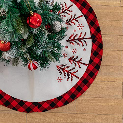 DegGod 36 Inches Checked Christmas Tree Skirt, Pastoral Red and Black Buffalo Check Xmas Tree Base Cover Mat for Christmas New Year Home Party Decoration (Cream, 36 inches)