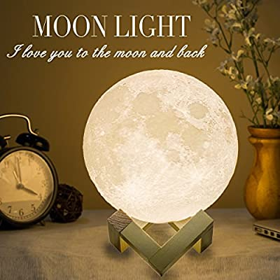 Mydethun Moon Lamp Moon Light Night Light for Kids Gift for Women USB Charging and Touch Control Brightness Warm and Cool White Lunar Lamp (7.1 inch) from mydethun.Co