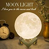 Mydethun Moon Lamp Moon Light Night Light for Kids Gift for Women USB Charging and Touch Control Brightness Warm and Cool White Lunar Lamp (7.1 inch)