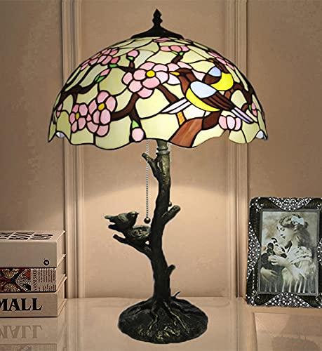 NANXCYR 16'Lámpara de Mesa Estilo Tiffany, Vidrio de Manchas lámpara de Cama Doble pájaros Escritorio Acento lámpara de Lectura luz Sala de Estar Estudio Dormitorio cafetería Barra de café