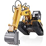 TongLi 1:14 Scale RC Excavator with Metal Bucket 15 Channel 2.4 GHz Remote Control Toy Construction Vehicle Collection Item Holiday Present
