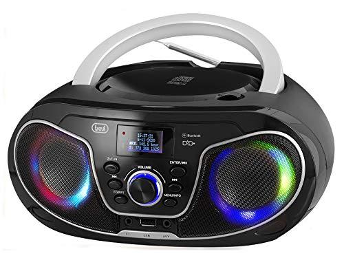 Trevi Electronics, 588 DAB Stereo Portatile con Radio DAB/DAB+ e FM con RDS, Display Dot Matrix ad Alta Leggibilità, CD, Mp3, USB, AUX-IN, Bluetooth, Presa Cuffia