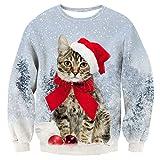 TUONROAD Sudaderas sin Capucha Christmas Unisex Gato 3D Impreso Ugly Navidad Suéter Jumper Crew Neck Manga Larga Jersey Sweatshirt para Hombres Mujeres - S