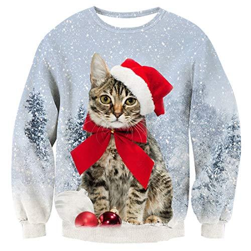 TUONROAD Männer Weihnachtspullover 3D Lange Ärmel Katze Pullover Lustig Christmas Sweater Sweatshirt L