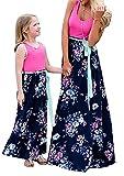 YMING Frauen Familiekleid Freizeitkleider Frühling Sommer Kleid Outfits Kleid für Mutter Tochter Rose Blumen S