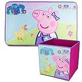 Peppa Pig Alfombra Infantil y Caja Juguetes Plegable, Pack Decoracion Habitacion Infantil con Alfombra Dormitorio y Organizador Juguetes Infantil | Caja Guarda Juguetes Niñas