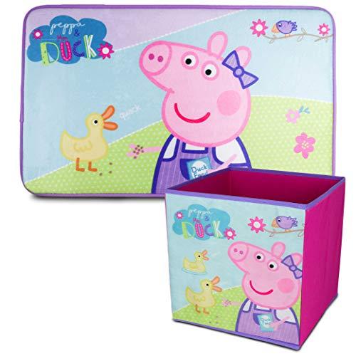 Peppa Pig Alfombra Infantil y Caja Juguetes Plegable, Pack Decoracion Habitacion Infantil con Alfombra Dormitorio y Organizador Juguetes Infantil   Caja Guarda Juguetes Niñas
