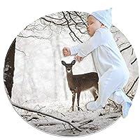 エリアラグ軽量 冬の森の鹿 フロアマットソフトカーペット直径27.6インチホームリビングダイニングルームベッドルーム