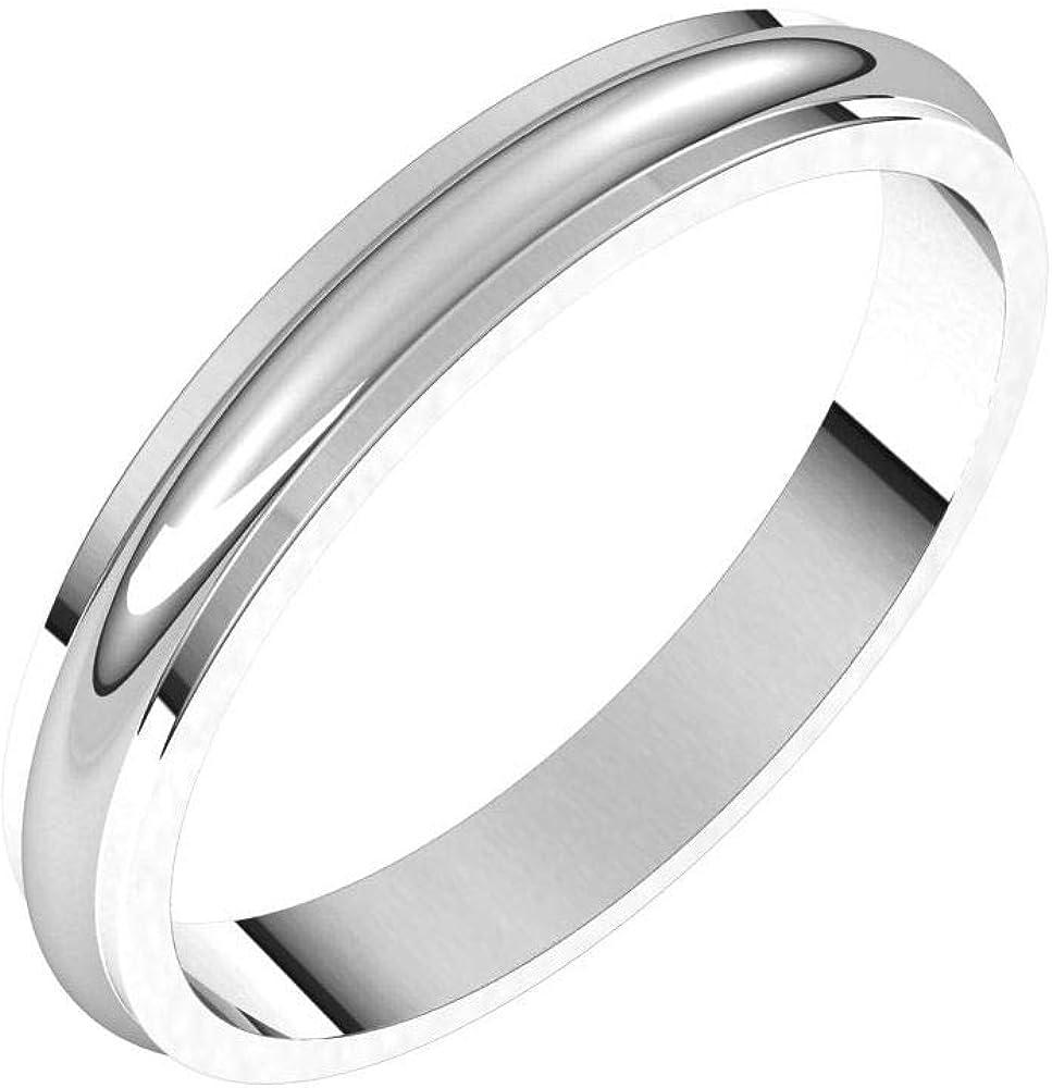 Solid Palladium 3mm Step Edge Wedding Band Ring Classic Plain Traditional - Size 6.5