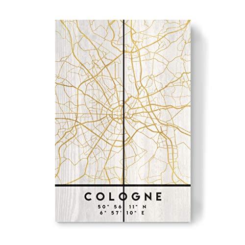 artboxONE Holzbild 30x20 cm Städte Cologne Germany Street MAP Art von Künstler Emiliano Deificus