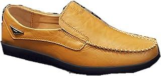 Zapatos de Cuero para Hombre Moda con Cremallera Casual Barco Zapatilla Antideslizante Durable Respirable Mocasines