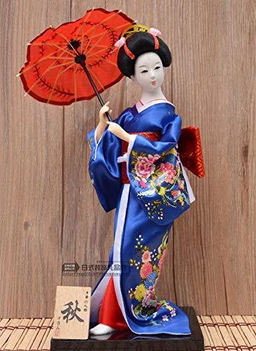 Azul Japonés Figurilla De Geisha, Mano Belleza Kimono Pequeña Estatua Estatuilla Mini Ornamento Creativo Vintage Collectibles Art Deco Regalos para Casa Salón Dormitorio
