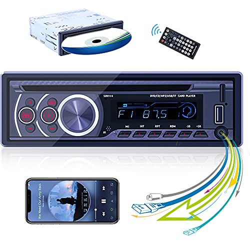 Single Din Car Stereo CD Player in-Dash DVD Car Radio Stereo Player with Bluetooth 1 Din MP3 Player, FM Receiver, USB/Aux Playback