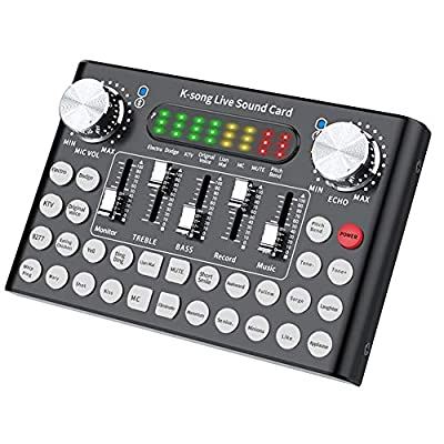 XHXseller Live Sound Card with 1Pc x Sound Card,1Pc x Charging Cable and 3Pcs x Cable,Live Audio Mixer Bluetooth Sound Card Set,Built In Rechargeable Battery