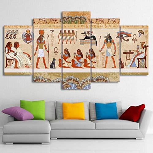 ZKPWLHS ImpresionessobreLienzo 5 Piezas Lienzo Arte Pinturas Pared Egipcio Cuadros Modular Antigua Dinastía Cartel Decoración del Hogar (Tamaño A) Sin Marco