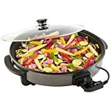 YesUK Laptronix Multi Cooker Pan Paella Pizza Pot Electric Frying Pan Glass Lid