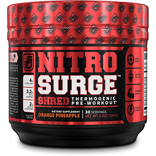 NITROSURGE Shred Pre Workout Supplement - Energy Booster, Instant Strength Gains, Sharp Focus, Powerful Pumps - Nitric Oxide Booster & PreWorkout Powder - 30Sv, Orange Pineapple