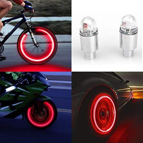 2 luces LED de la cubierta de la válvula del neumático para los neumáticos Firefly Radiant Neumáticos Deportes Luces de Neón Bicicleta Coche Motocicleta Accesorios (Luz Roja)