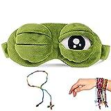 YouU Máscara del Sueño, Pelusa Dormir Divertido Ovedad Rana de Dibujos Animados Tapa del Ojo Visera Máscara de Viaje del Sueño (Verde)
