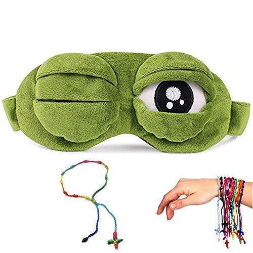 YouU 3D-Schlafmaske, Frosch, Grün, Cartoon, trauriger Frosch, Augenmaske, Schlafschutz, Reisen, Anime, lustiges Geschenk