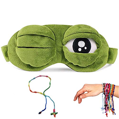 UoYu 3D Cute Frog Sleep Eye Mask Green Cartoon Sad Frog Eye Mask Cover Sleeping Rest Travel Anime Funny Gift