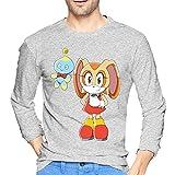 Soul Anime Eater Camiseta de los hombres Casual 100% Algodón Cuello Redondo Manga Larga Top Cómodo Impresión Camiseta Moda Larga, gris, L