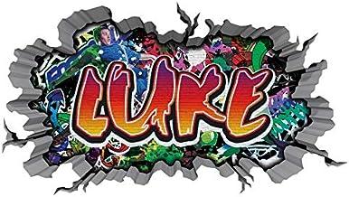 3D muursticker graffiti muursticker naam LUKE muurdoorbraak sticker jongen zelfklevende muursticker jongen ddeko kinderkam...