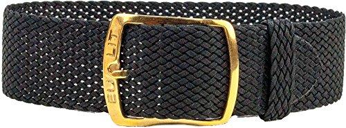 Kristall Ersatzband Perlonband Textilband Schwarz, geflochten, wasserfest 25593G, Stegbreite:16mm