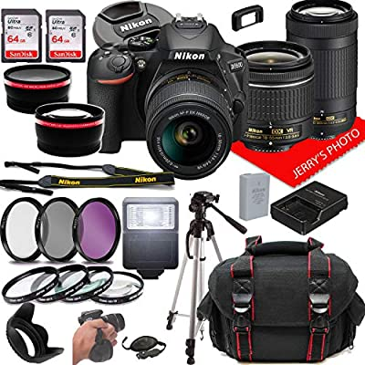 Nikon D5600 DSLR Camera w/NIKKOR 18-55mm f/3.5-5.6G VR + 70-300mm f/4.5-6.3G ED Lenses + Case + 128GB Memory (28pc Bundle) by Jerry's Photo | Nikon Intl