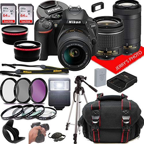 Nikon D5600 DSLR Camera w/NIKKOR 18-55mm f/3.5-5.6G VR + 70-300mm f/4.5-6.3G ED Lenses + Case + 128GB Memory (28pc Bundle)