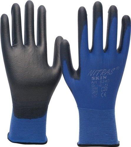 Nitras feinstrickha ndschuhe NITRAS Skin, EN388, Cat. II Taille XXL Revêtement PU, noir, 12 paires