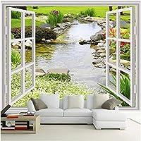 Xbwy 装飾壁画壁紙モダンガーデン川花風景壁画リビングルームベッドルーム家の装飾-280X200Cm