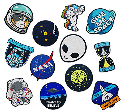 Outer Space Patches for Kids - by The Carefree Bee | Set of 12 Clothing Patches | Bomber Patches for Jean Jackets and Clothes | Small NASA Patch, Space Man Patch, and Planet Applique (Set 5)