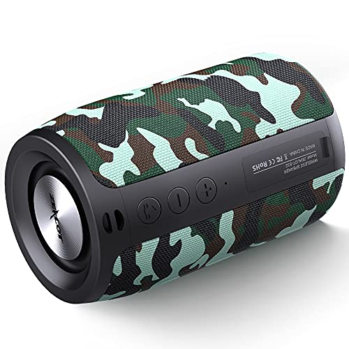 Bluetooth Speakers Waterproof, Portable Speaker, Zealot S32 Wireless Dual Pairing, IPX5 Stereo Sound/Microphone/TF Card/USB/AUX Competible for iPhone Xmas Samsung Andriod - Camo
