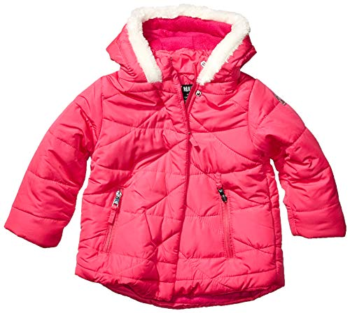 Steve Madden Girls Girls' Toddler Bubble Jacket (More Styles Available), Faux Fur Trim Hood Fuchsia, 2T