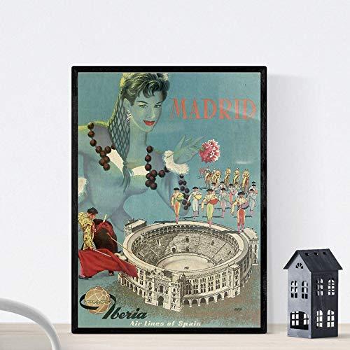 Nacnic Poster vintage. Cartel vintage de Europa. Viaja a Madrid. Tamaño A3