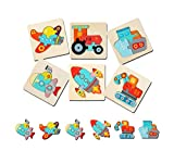 Koyiwa 6 Pack Wooden Puzzles for Toddlers Age 3+, Early Educational Jigsaw Puzzles Toy Gift for Boys and Girls (6 Vehicles Patterns)