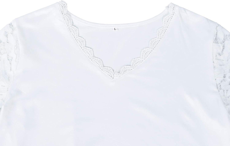 HenzWorld Hauts Tuniques Pliss/ées D/écontract/ées pour Femmes Manches Longues Chemises /à Boutons L/âches Blouse